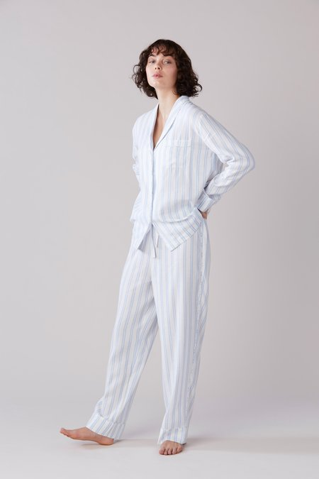 Laing Home Abbey Pyjama Set - Blue/White Stripe
