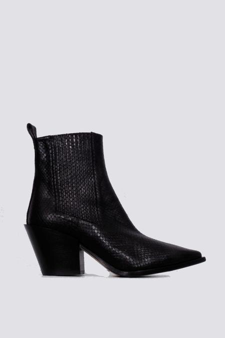aeydē Kate Python Leather Boot - Black