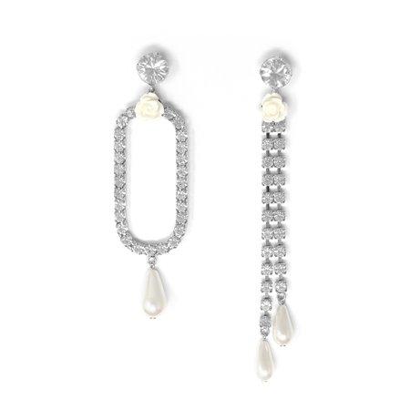 Joomi Lim Asymmetrical Oval & Crystal Chain Earrings W/ Resin Roses & Pearls
