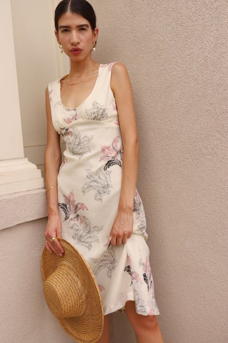 Dear Society Vintage 1970s Feather Print Dress - Cream