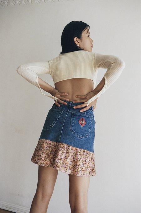 VINTAGE Denim Flounce Skirt - Floral
