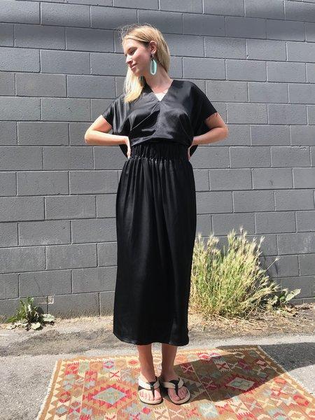 Miranda Bennett  Silk Charmeuse Paper Bag Skirt - Black