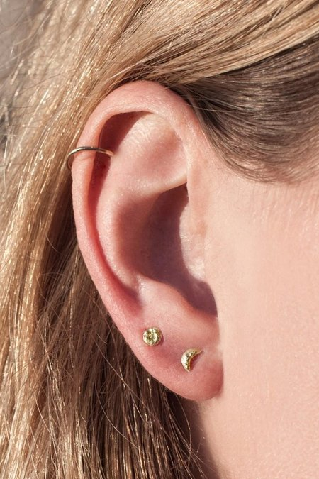Valley Rose Moon Stud Earrings - 14K Gold