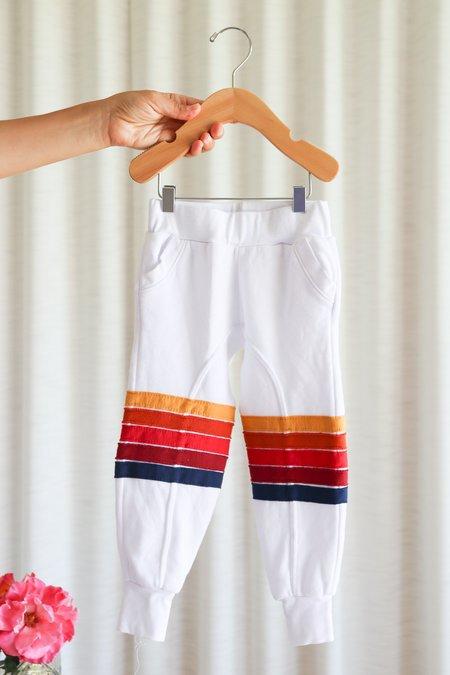 Kids Aviator Nation Moto Stripe Sweatpants - White/Red
