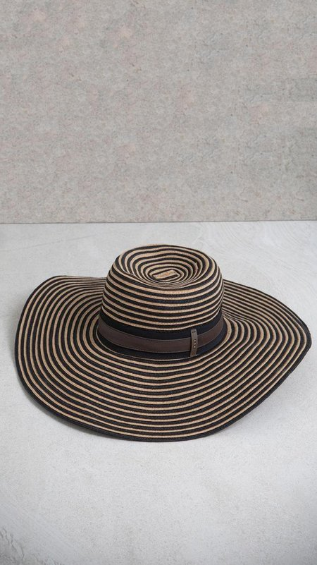 Peserico Wide Brimmed Hat with Grosgrain Ribbon - Stripes
