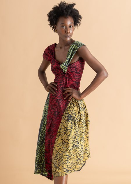 Abiola Olusola Knotted Three Print Adire Midi Dress