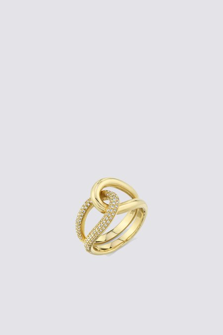 Gabriela Artigas Pave Link Ring - 14K Yellow Gold
