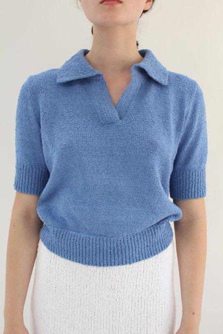 Beklina Bouclé Knit Polo - Hydrangea