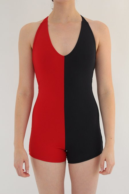 Beklina Italian Lycra Tie Swimsuit - Red/Black