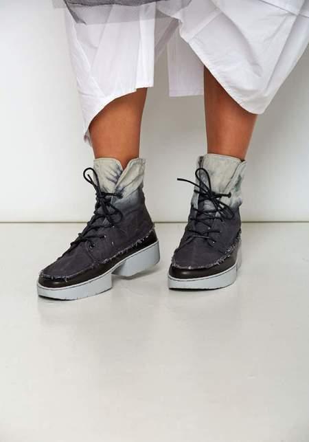 Trippen Batik Cotton Lace Up Boots - BLACK/WHITE