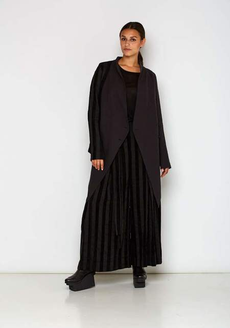 Paneled Asymmetric Suit Coat - BLACK/BLUE