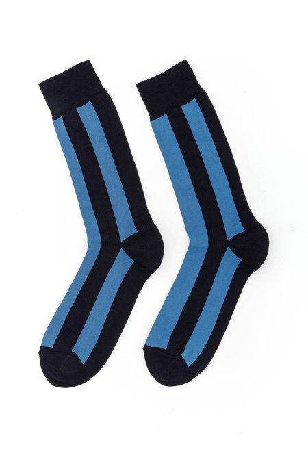 Marni Vertical Stripe Intarsia Socks - Blue/Black