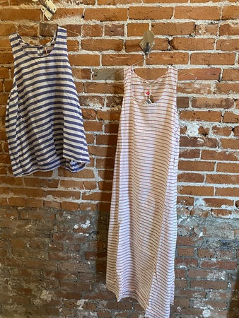 Injiri Striped Tank Dress - White/Red