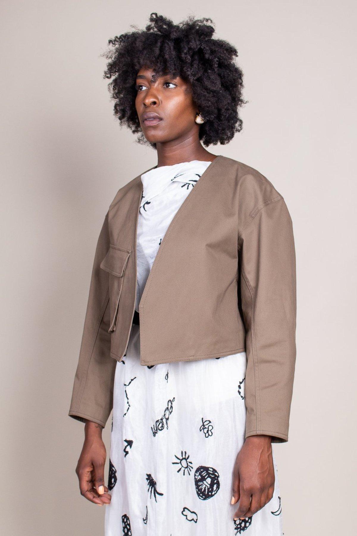 Tibi Myriam Twill Jacket Utility Brown