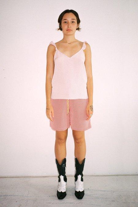Kk Co Studio Tidal Tank - Pink/White Checker