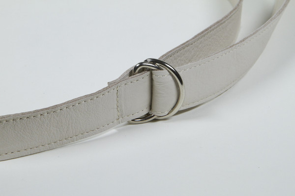 Clyde D Ring Belt in Stone Calf Leather