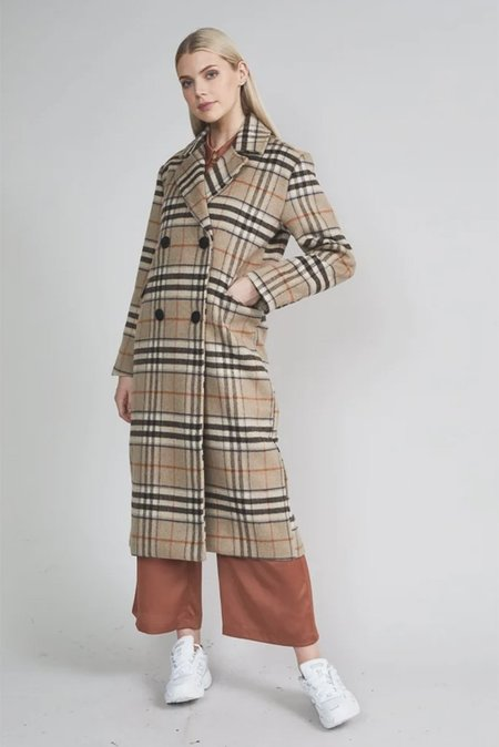 Native Youth Chrissy Overcoat - Beige Check