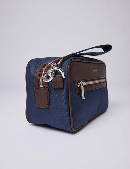 Sandqvist Jonas Wash Bag - Navy Blue/Brown
