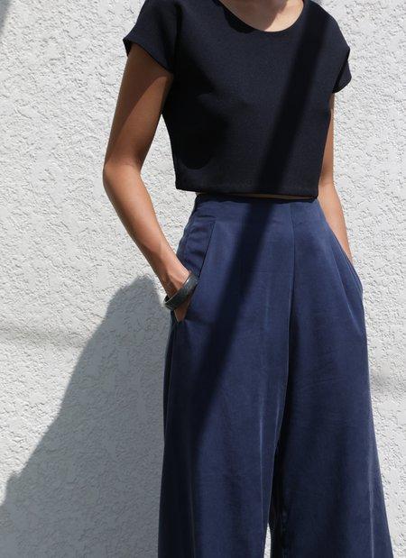 KAAREM Flute Wide Leg Pant - Dark Blue