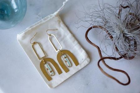 Ayla Isadora Geometric Brass and Beaded Earrings - Teal/Red