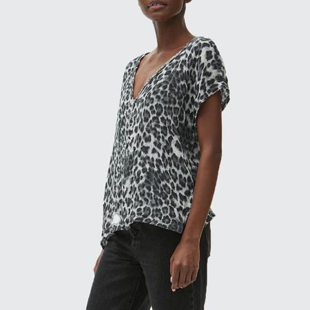 Michael Stars Draya Leopard V Neck Top - Grey