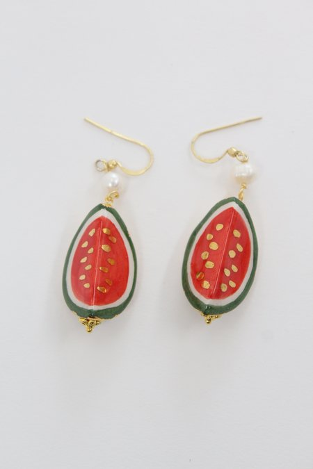 Beklina Italian Hand Painted Ceramic Earrings - Watermelon
