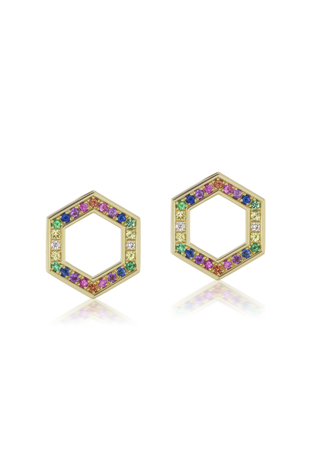 Lauren Godfrey Harwell Godfrey Colored Stone Hexagon Foundation Stud Earrings