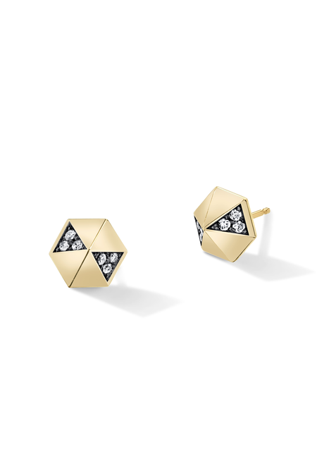 Lauren Godfrey Harwell Godfrey Diamond Hexagon Dome Studs - White Diamond/Black Rhodium