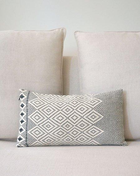 VOZ Diamantito Cotton Lumbar Pillow - Ivory/Black