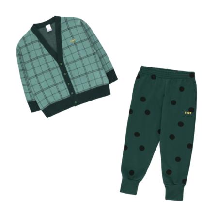 Kids Tinycottons Check Cardigan - Dark Pistachio/Navy