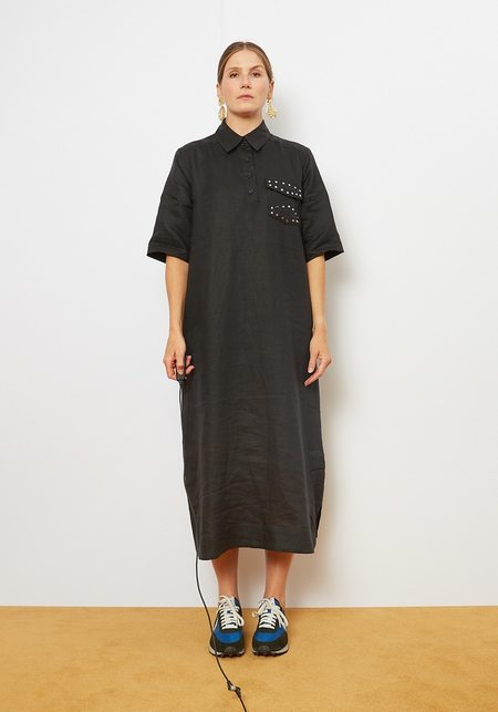Ganni Light Linen Dress - Phantom