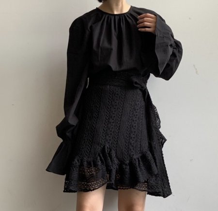 Deventi Ruffle Lace Wrap Dress - black