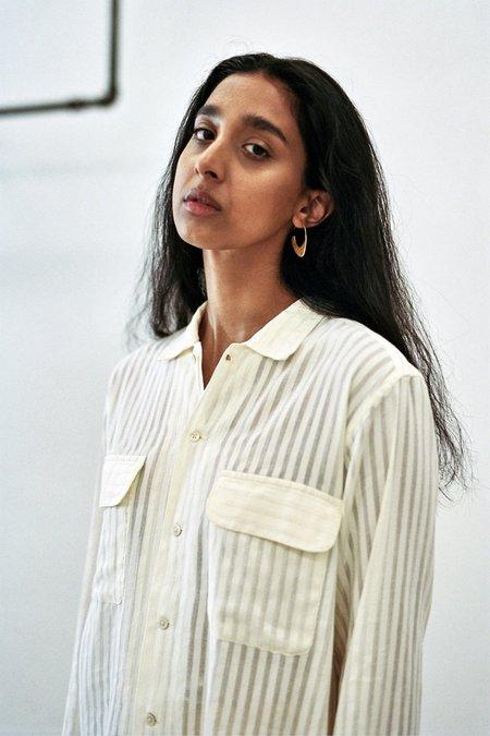 BODE Vertical Sheer Stripe Havana Shirt