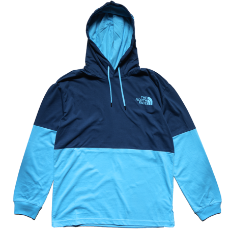 THE NORTH FACE Heavyweight Half-And-Half Pullover Hoodie - Shady Blue/Ethereal Blue