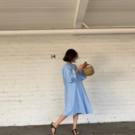 APRIL MEETS OCTOBER Ogden Dress - Baby Blue
