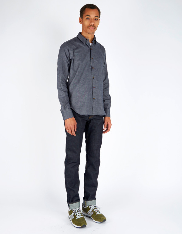 Men's 18 Waits Dylan Shirt Navy Twill Flannel