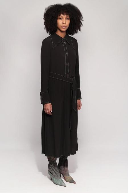 Veronique Leroy Crepe Dress With Pleated Skirt - Black