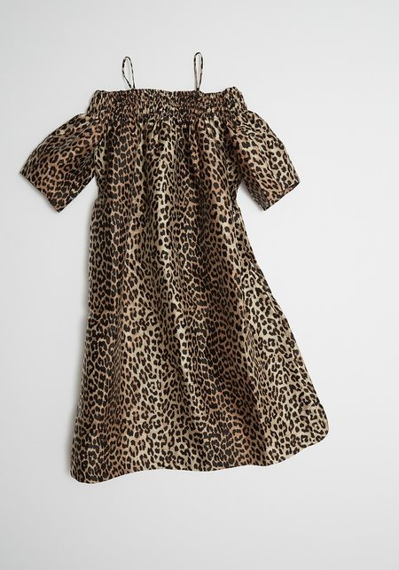 Ganni Crispy Jacquard Dress - Leopard