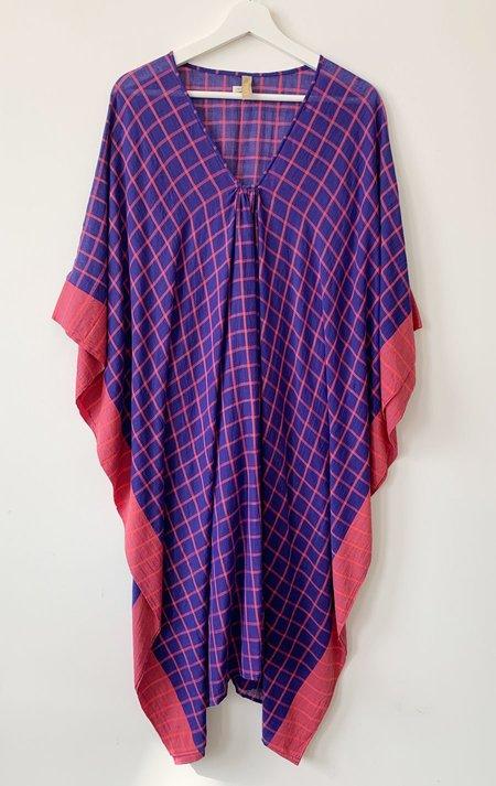 Two Soft caftan - purple grid