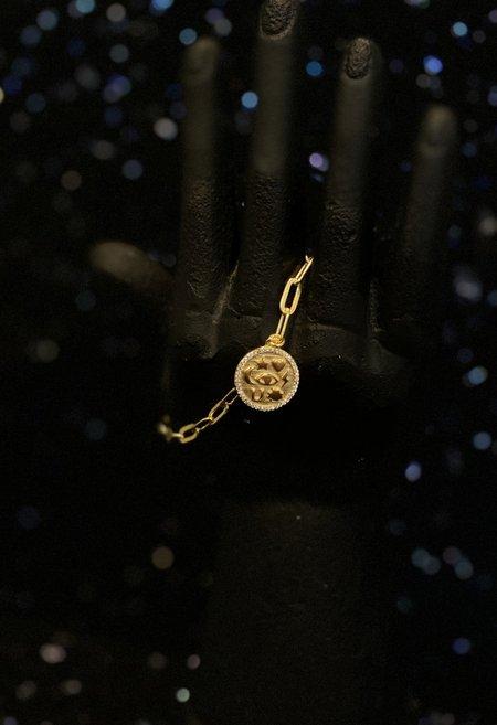 SS JEWELRY Chain Link Bracelet w/ Pendant  - Gold