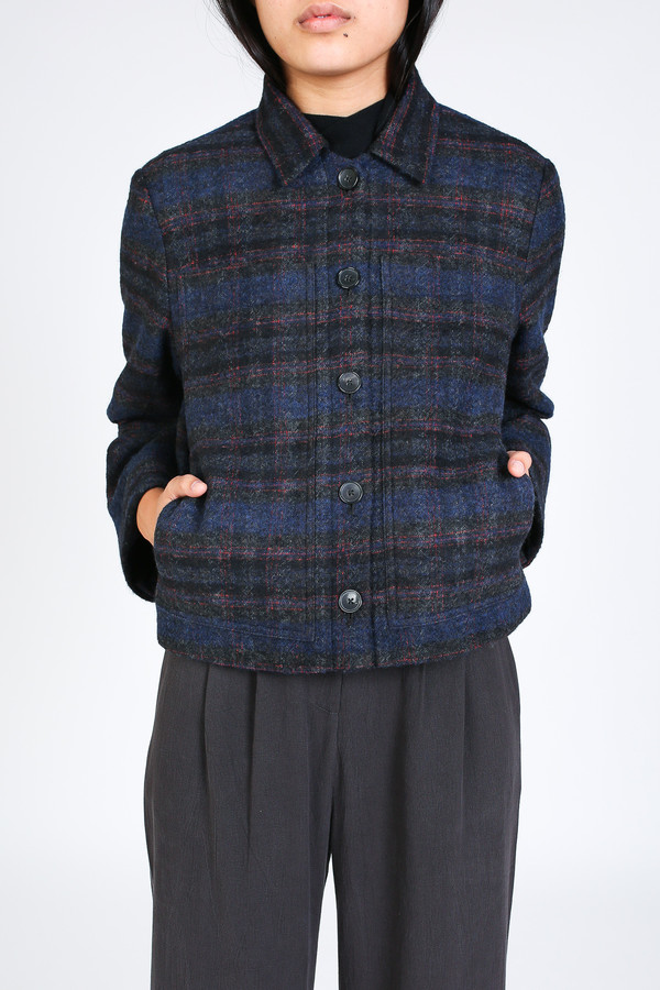 Steven Alan Grand shirt jacket in navy/red plaid