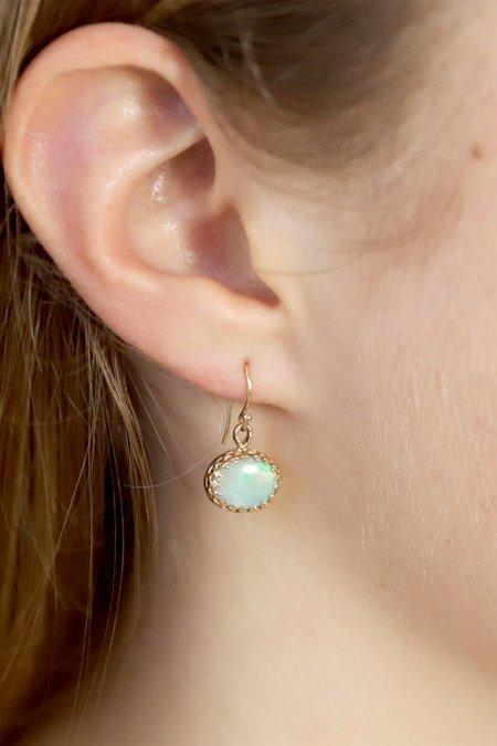 Becky Kelso 14K Gold Oval Brazilian Opal Earrings