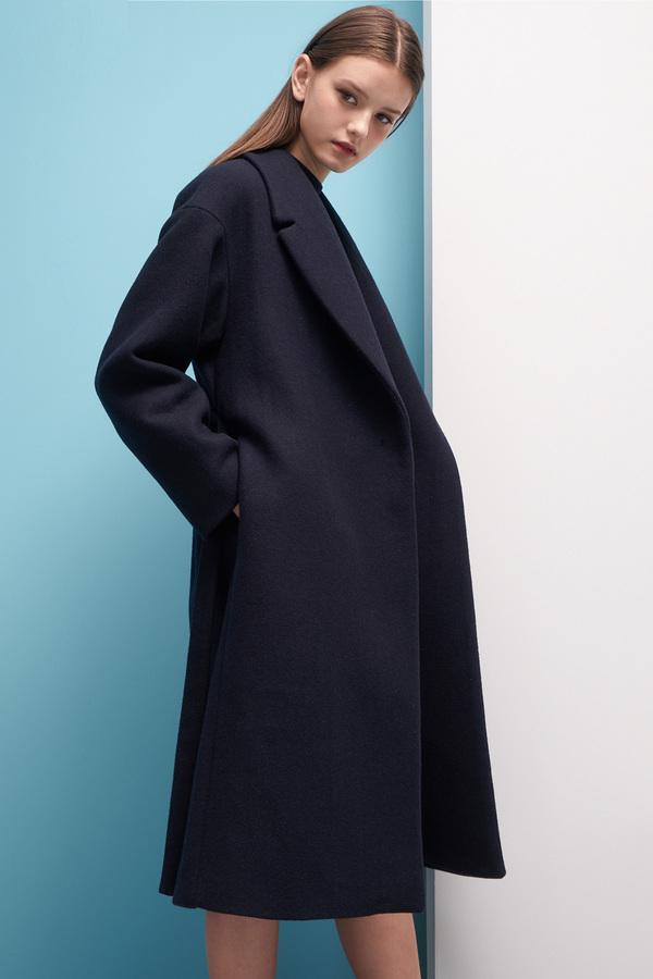 LOOKAST Oversized Wool Robe Coat- Navy