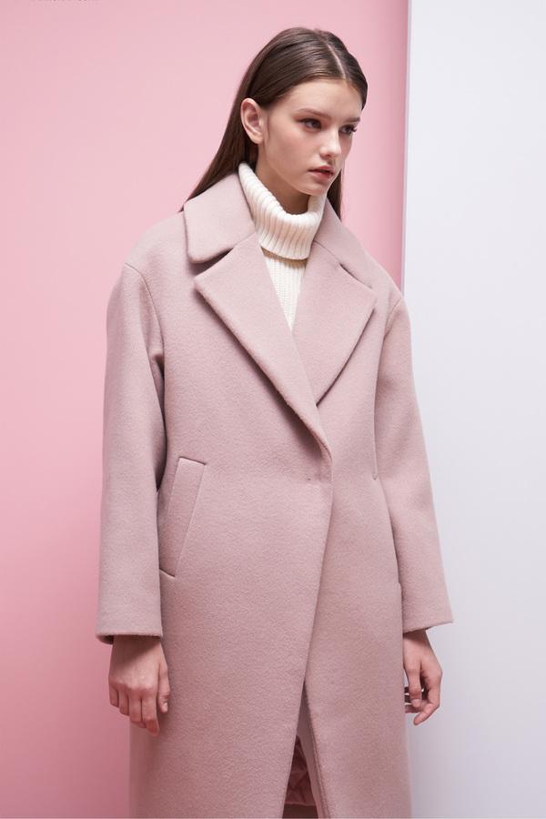LOOKAST Oversized Long Wool Coat- Baby Pink