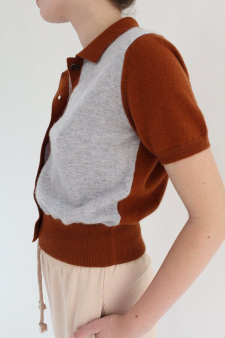 Beklina Fern Sweater Blouse - Grey/Chocolate