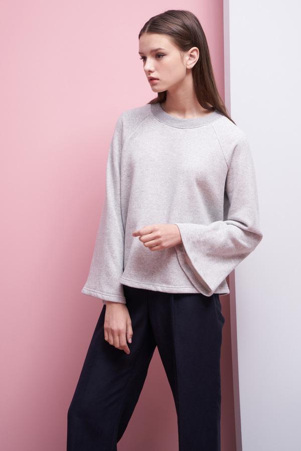 LOOKAST Bell Sleeve Sweatshirt- Gray