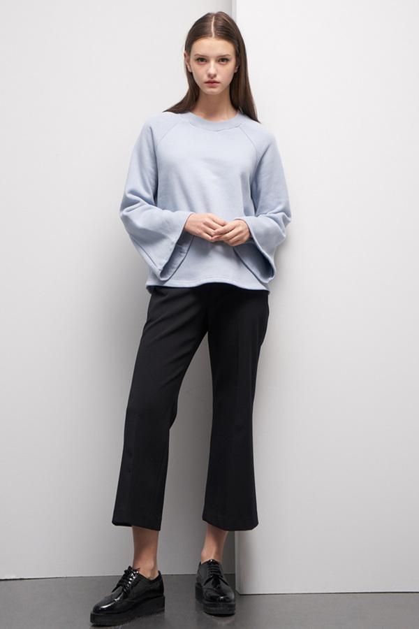 LOOKAST Bell Sleeve Sweatshirt- Baby Blue