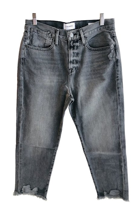 FRAME Denim Le Stevie Crop Raw Edge Jeans - Acera Chew
