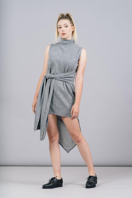 House of Sunny Asymmetric Rib Dress With High Neck