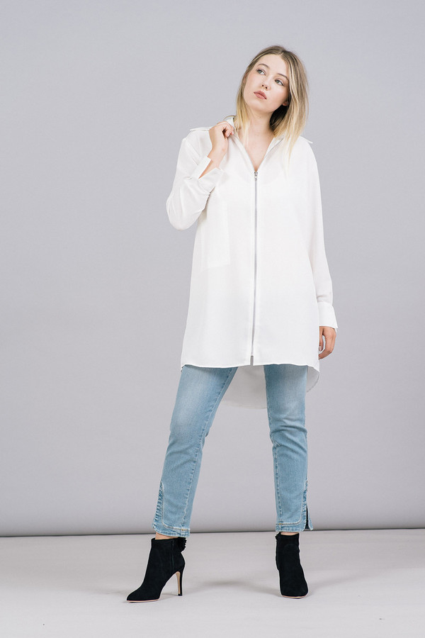 House of Sunny Essential Zip Front Shirt